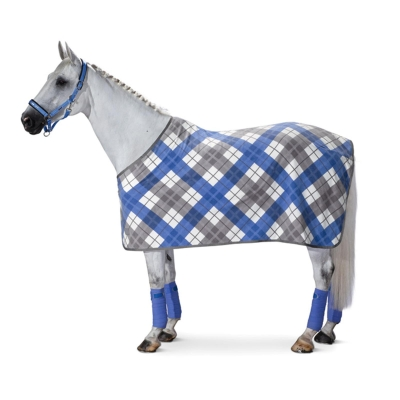 "Eskadron Abschwitzdecke Fleece CHECKED, atlanticblue-marshmellow-silver pearl  "" Classic Sports HW 18 """